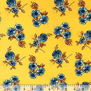 Blue Painted Rose Bouquets on Mustard Double Brushed Jersey Spandex Blend Knit Fabric