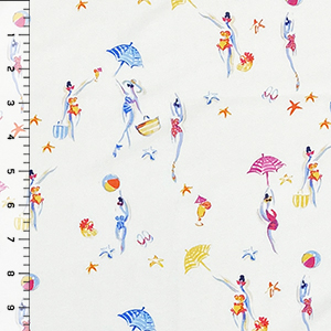 Beach Day on Ivory Cotton Spandex Knit Fabric