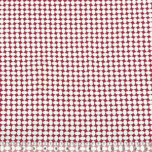 White Geo Ovals on Coral Cotton Spandex Knit Fabric