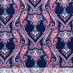 Fuchsia Denim Boho Paisley Cotton Spandex Knit Fabric