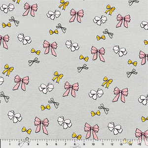 Decorated Bows on Gray Cotton Spandex Knit Fabric