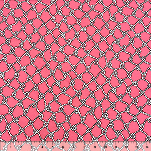 Nautical Rope Net on Coral Pink on Gray Cotton Spandex Knit Fabric