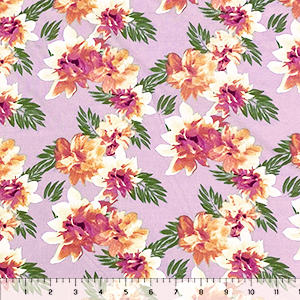 Mauve Peach Tropical Floral on Lilac Double Brushed Jersey Spandex Blend Knit Fabric