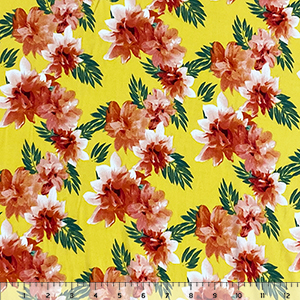 Coral Red Tropical Floral on Sunshine Double Brushed Jersey Spandex Blend Knit Fabric
