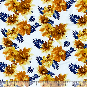 Half Yard Orange Gold Tropical Floral on White Double Brushed Jersey Spandex Blend Knit Fabric