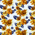 Orange Gold Tropical Floral on White Double Brushed Jersey Spandex Blend Knit Fabric