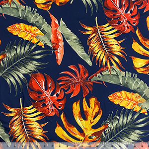 Big Red Gold Palm Leaves on Navy Double Brushed Jersey Spandex Blend Knit Fabric