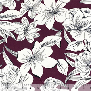 Big White Hibiscus Silhouettes on Plum Double Brushed Jersey Spandex Blend Knit Fabric