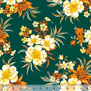 Orange Yellow Tropical Bouquets on Hunter Double Brushed Jersey Spandex Blend Knit Fabric