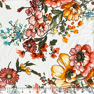 Hand Drawn Tropical Garden Floral on White Double Brushed Jersey Spandex Blend Knit Fabric