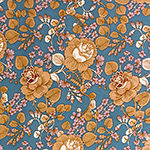 Chalky Cafe Mod Botanical Floral on Blue Double Brushed Jersey Spandex Blend Knit Fabric