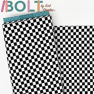 10 Yard Bolt Classic Black White Checkered Squares Cotton Spandex Knit Fabric