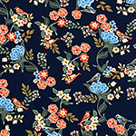 Bird In The Garden On Navy Double Brushed Jersey Spandex Blend Knit Fabric