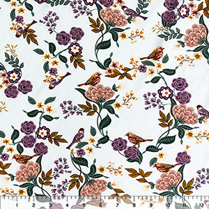 Bird In The Garden On White Double Brushed Jersey Spandex Blend Knit Fabric