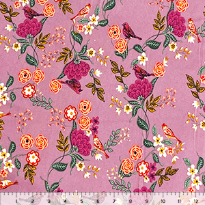 Bird In The Garden On Thistle Double Brushed Jersey Spandex Blend Knit Fabric