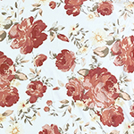 Muted Clay Floral on White Double Brushed Jersey Spandex Blend Knit Fabric