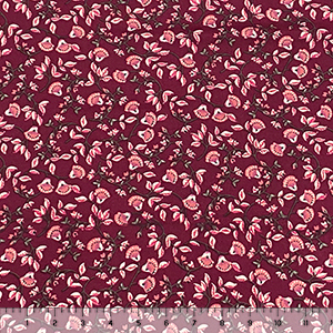 Mauve Fan Floral Vines on Burgundy Double Brushed Jersey Spandex Blend Knit Fabric