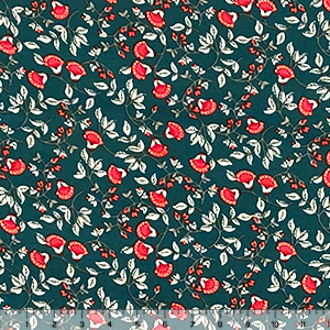 Coral Fan Floral Vines on Pine Double Brushed Jersey Spandex Blend Knit Fabric