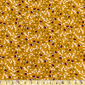 Brick Fan Floral Vines on Gold Double Brushed Jersey Spandex Blend Knit Fabric
