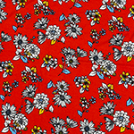 Sky Orange Hand Drawn Sunflower Floral on Red Cotton Jersey Spandex Blend Knit Fabric