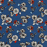 Sky Red Hand Drawn Sunflower Floral on Denim Cotton Jersey Spandex Blend Knit Fabric