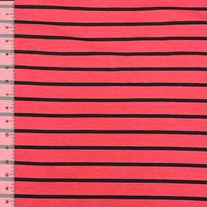 Berry Black Breton Stripe Cotton Jersey Spandex Blend Knit Fabric