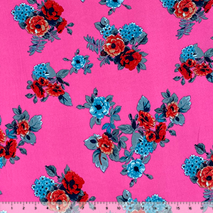 Red Teal Gray Floral on Hot Pink Double Brushed Jersey Spandex Blend Knit Fabric