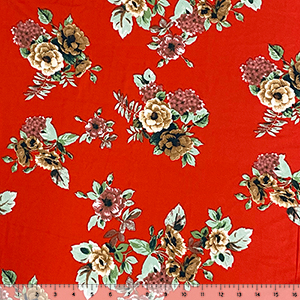 Mint Brick Caramel Floral on Lipstick Red Double Brushed Jersey Spandex Blend Knit Fabric