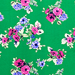 Fuschia Lilac Mint Floral on Grass Green Double Brushed Jersey Spandex Blend Knit Fabric