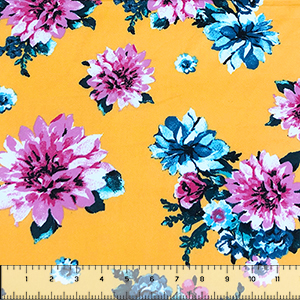 Half Yard Pink Blue Mum Floral on Butter Yellow Double Brushed Jersey Spandex Blend Knit Fabric
