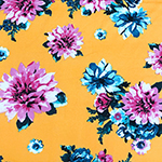Pink Blue Mum Floral on Butter Yellow Double Brushed Jersey Spandex Blend Knit Fabric