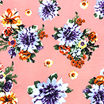 Purple Orange Mum Floral on Piglet Pink Double Brushed Jersey Spandex Blend Knit Fabric
