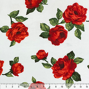 Big Red Roses on White Double Brushed Jersey Spandex Blend Knit Fabric