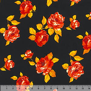 Big Red Roses on Black Double Brushed Jersey Spandex Blend Knit Fabric