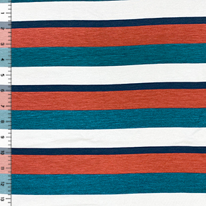 Half Yard Teal Red Navy Stripe Cotton Jersey Spandex Blend Knit Fabric