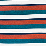 Teal Red Navy Stripe Cotton Jersey Spandex Blend Knit Fabric