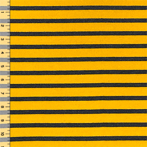 Goldenrod & Heather Black Breton Stripe Cotton Jersey Spandex Blend Knit Fabric