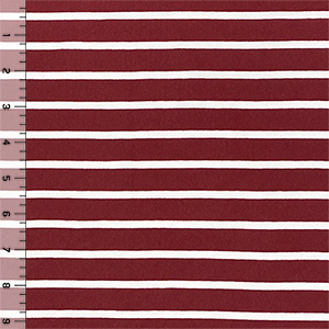 Maroon & White Breton Stripe Double Brushed Jersey Spandex Blend Knit Fabric