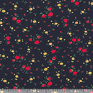 Red Yellow Bitsy Floral on Washed Black Cotton Jersey Spandex Blend Knit Fabric