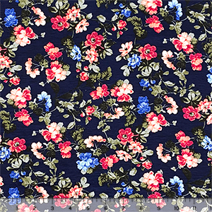 Coral Red Purple Flowers on Deep Navy Cotton Jersey Spandex Blend Knit Fabric