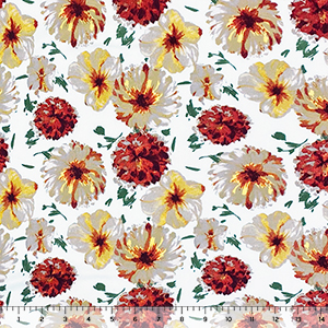 Painted Rust Gold Mum Floral on White Double Brushed Jersey Spandex Blend Knit Fabric