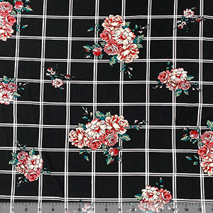 Pink Carnation Floral on Black White Plaid Double Brushed Jersey Spandex Blend Knit Fabric