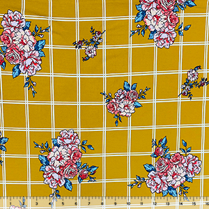 Coral Carnation Floral on Mustard White Plaid Double Brushed Jersey Spandex Blend Knit Fabric