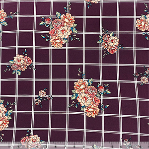 Peach Carnation Floral on Plum White Plaid Double Brushed Jersey Spandex Blend Knit Fabric