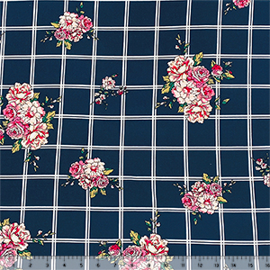Pink Carnation Floral on Navy White Plaid Double Brushed Jersey Spandex Blend Knit Fabric