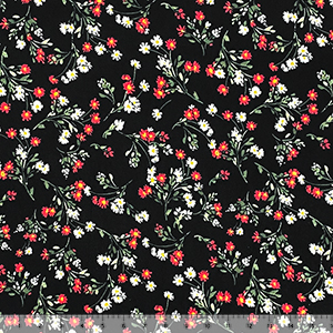 Red White Bitsy Daisy Floral on Black Double Brushed Jersey Spandex Blend Knit Fabric