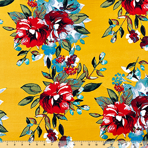 Big Painted Floral on Gold Double Brushed Jersey Spandex Blend Knit Fabric