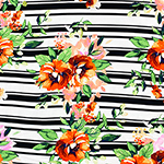 Coral Floral on Black Variegated Stripe Double Brushed Jersey Spandex Blend Knit Fabric