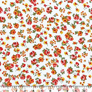 Pink Yellow Small Floral on White Double Brushed Jersey Spandex Blend Knit Fabric