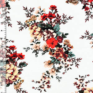 Coral Peach Floral Bouquets on Ivory Cotton Jersey Spandex Blend Knit Fabric